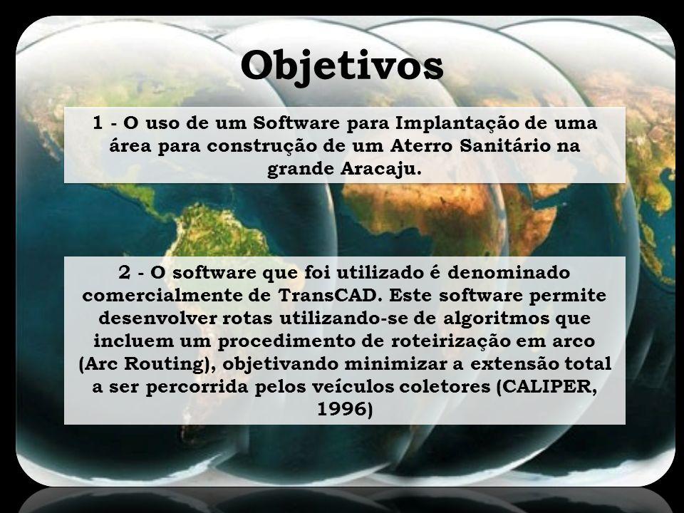 Objetivos 1 - O uso de um Software para Implantação de uma área para construção de um Aterro Sanitário na grande Aracaju. 2 - O software que foi utili
