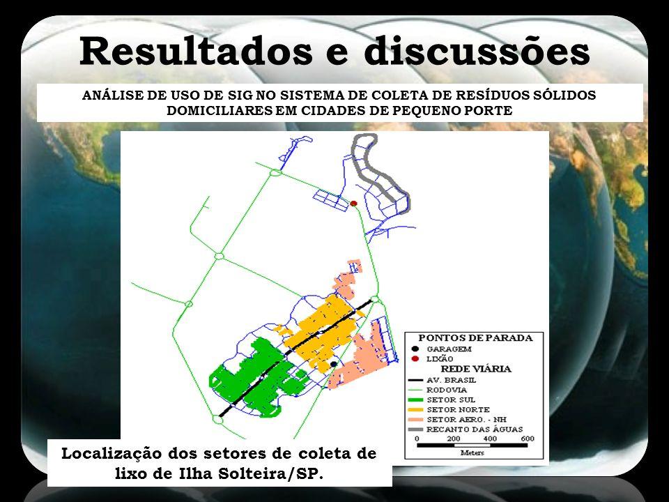 Resultados e discussões ANÁLISE DE USO DE SIG NO SISTEMA DE COLETA DE RESÍDUOS SÓLIDOS DOMICILIARES EM CIDADES DE PEQUENO PORTE Localização dos setore