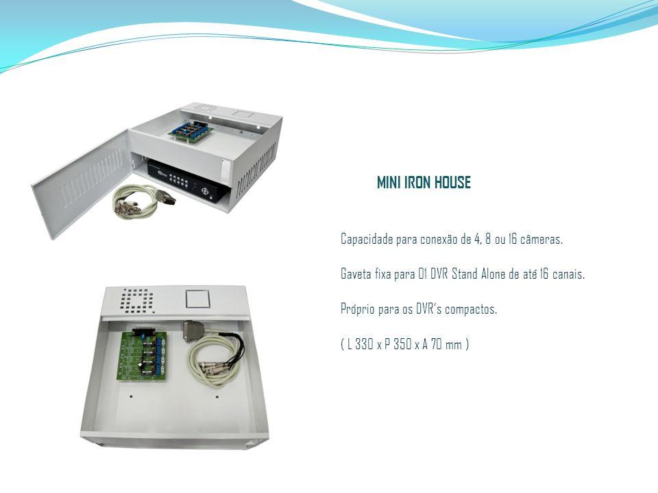 Capacidade para conexão de 4, 8 ou 16 câmeras. Gaveta fixa para 01 DVR Stand Alone de até 16 canais. Próprio para os DVRs compactos. ( L 330 x P 350 x