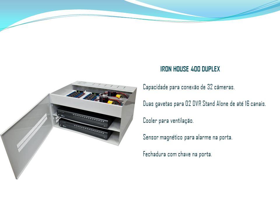 Capacidade para conexão de 32 câmeras. Duas gavetas para 02 DVR Stand Alone de até 16 canais. Cooler para ventilação. Sensor magnético para alarme na
