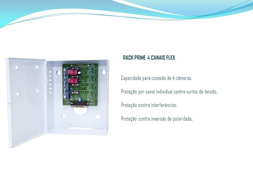 RACK PRIME 4 CANAIS FLEX Capacidade para conexão de 4 câmeras. Proteção por canal individual contra surtos de tensão. Proteção contra interferências.