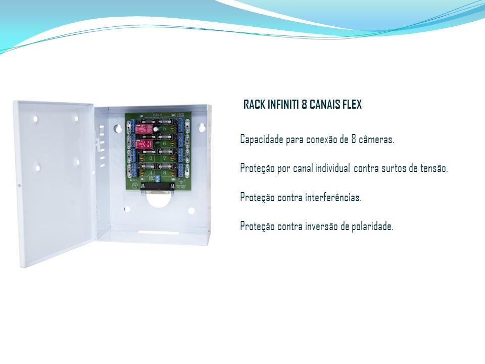 RACK INFINITI 8 CANAIS FLEX Capacidade para conexão de 8 câmeras. Proteção por canal individual contra surtos de tensão. Proteção contra interferência