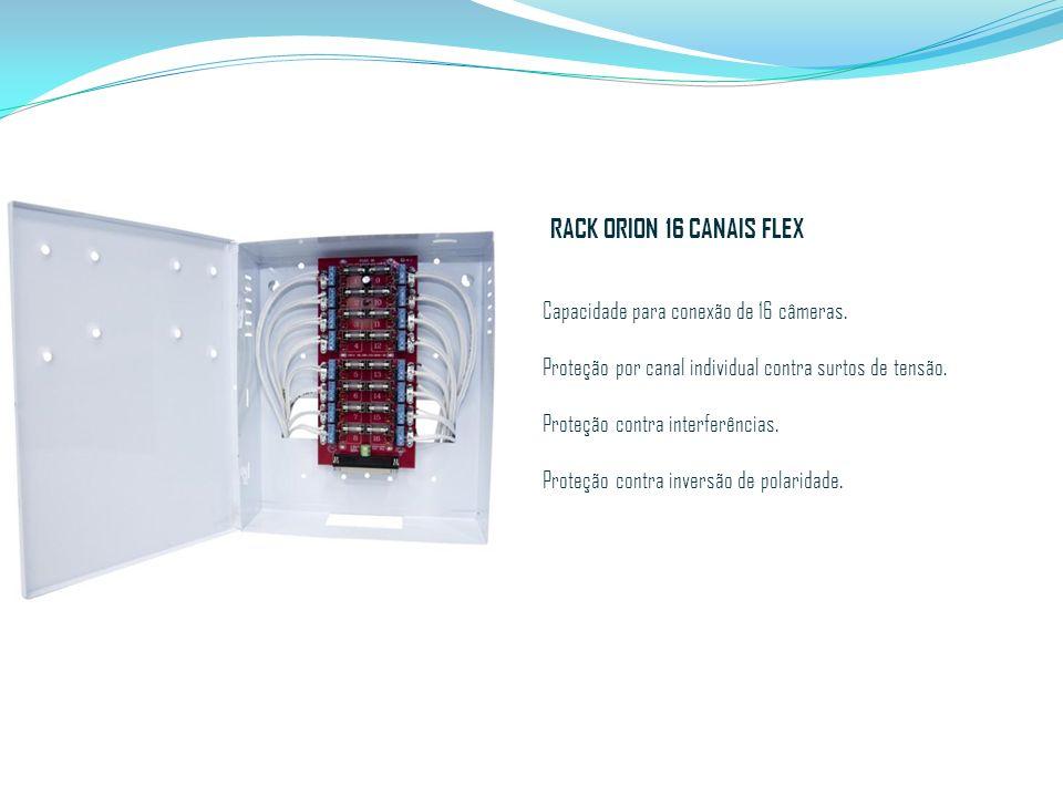 RACK ORION 16 CANAIS FLEX Capacidade para conexão de 16 câmeras. Proteção por canal individual contra surtos de tensão. Proteção contra interferências
