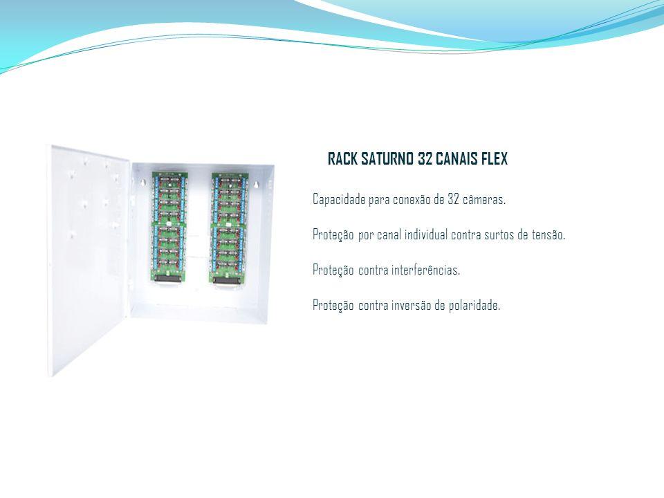 RACK SATURNO 32 CANAIS FLEX Capacidade para conexão de 32 câmeras. Proteção por canal individual contra surtos de tensão. Proteção contra interferênci