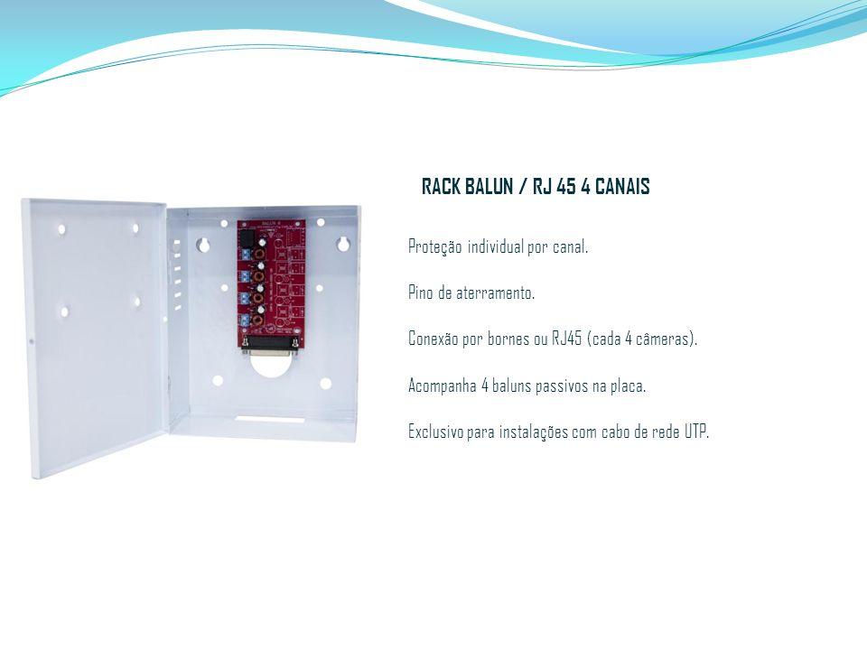 RACK BALUN / RJ 45 4 CANAIS Proteção individual por canal.