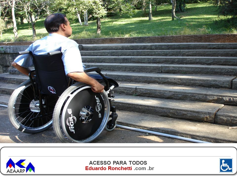 ACESSO PARA TODOS Eduardo Ronchetti.com.br A LEGISLAÇÃO NÃO PREVÊ ADAPTAÇÃO DE UNIDADE HABITACIONAL UNIFAMILIAR E INTERIOR DE SALAS COMERCIAIS.