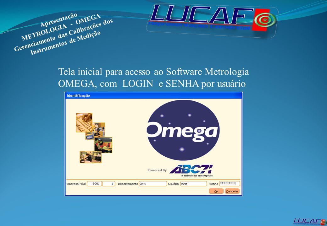 Estrutura do Metrologia OMEGA, Cadastros, Calibrações, Empréstimos, Relatórios e Configurações.