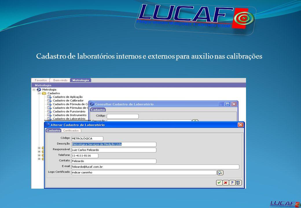 Cadastro de laboratórios internos e externos para auxilio nas calibrações