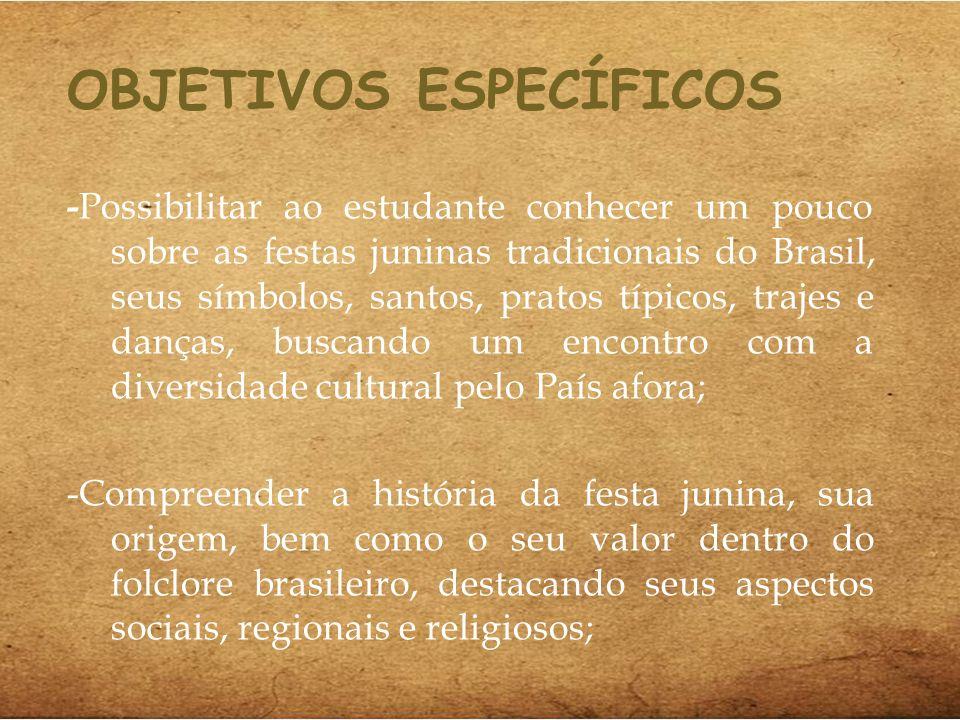 OBJETIVOS ESPECÍFICOS - Possibilitar ao estudante conhecer um pouco sobre as festas juninas tradicionais do Brasil, seus símbolos, santos, pratos típi