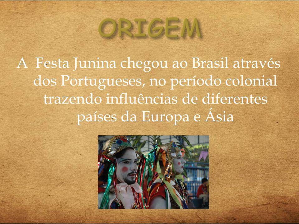 A Festa Junina chegou ao Brasil através dos Portugueses, no período colonial trazendo influências de diferentes países da Europa e Ásia