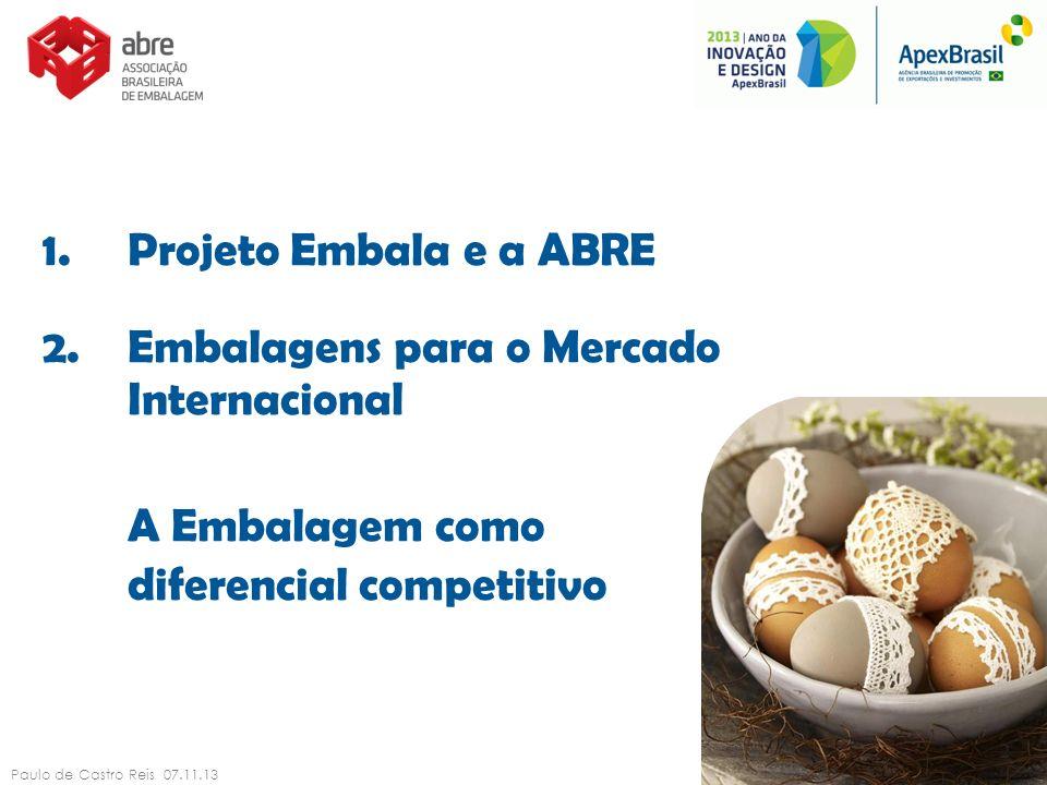 1.Projeto Embala e a ABRE 2.Embalagens para o Mercado Internacional A Embalagem como diferencial competitivo Paulo de Castro Reis 07.11.13 2