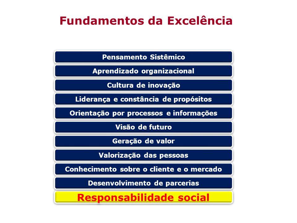 Responsabilidade social Pensamento Sistêmico Aprendizado organizacional Cultura de inovação Liderança e constância de propósitos Orientação por proces