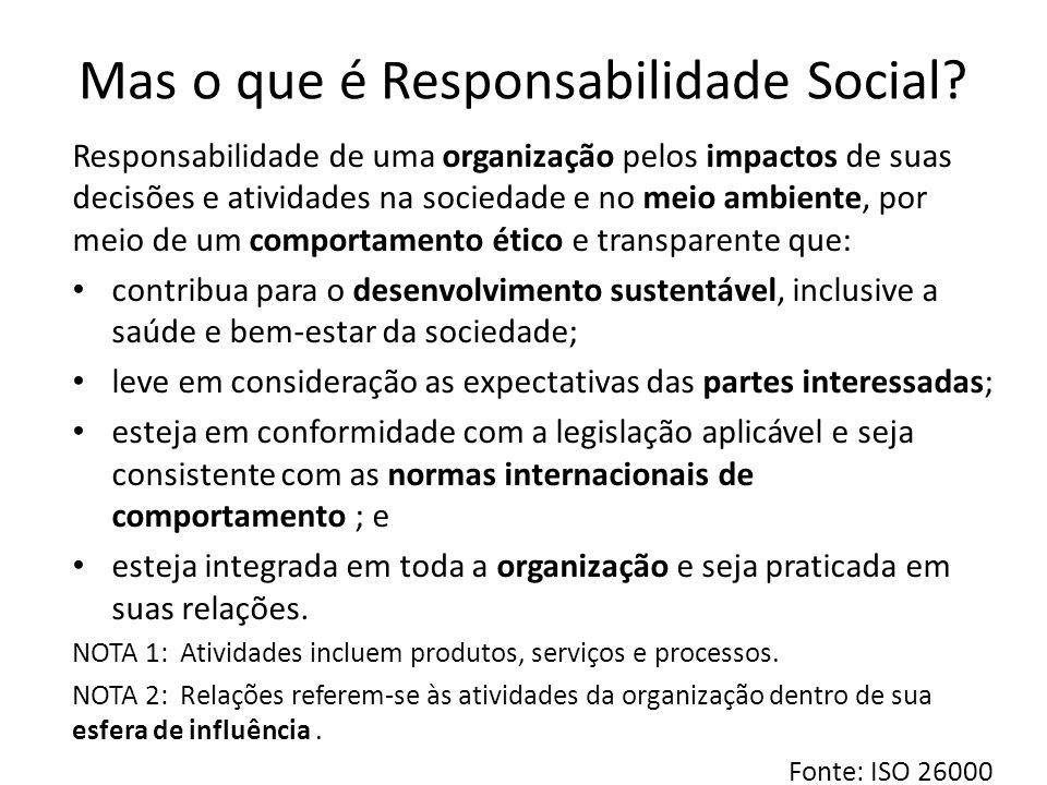 Mas o que é Responsabilidade Social? Responsabilidade de uma organização pelos impactos de suas decisões e atividades na sociedade e no meio ambiente,