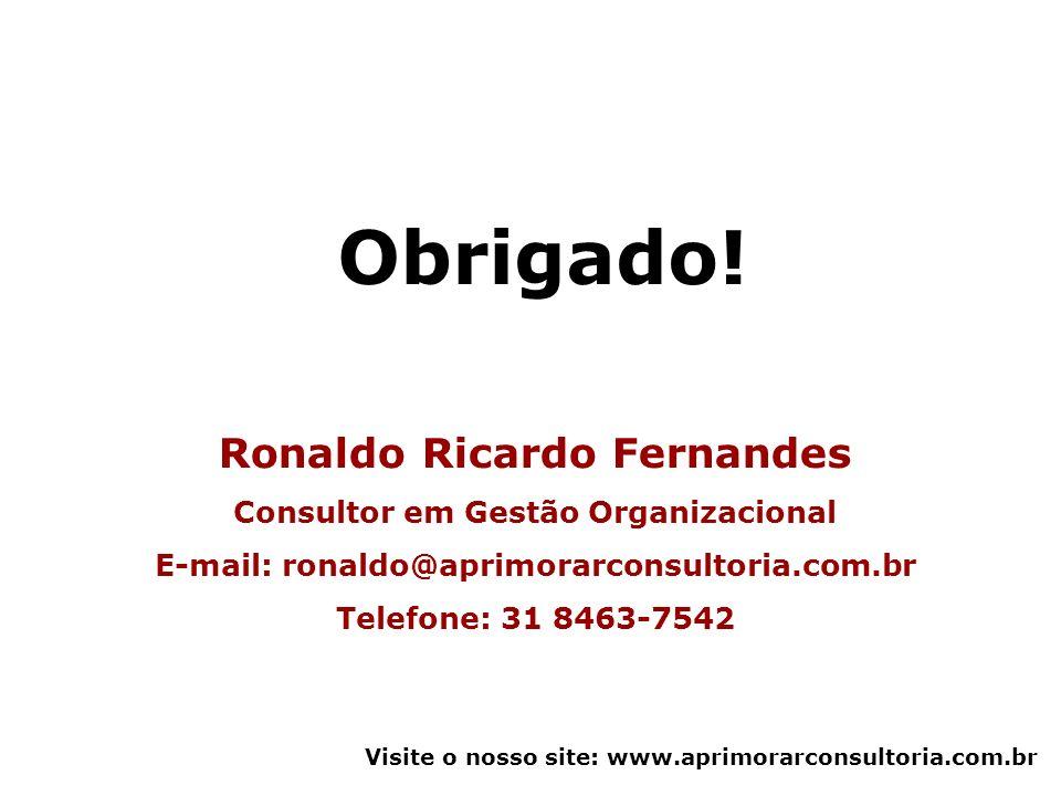 Obrigado! Ronaldo Ricardo Fernandes Consultor em Gestão Organizacional E-mail: ronaldo@aprimorarconsultoria.com.br Telefone: 31 8463-7542 Visite o nos