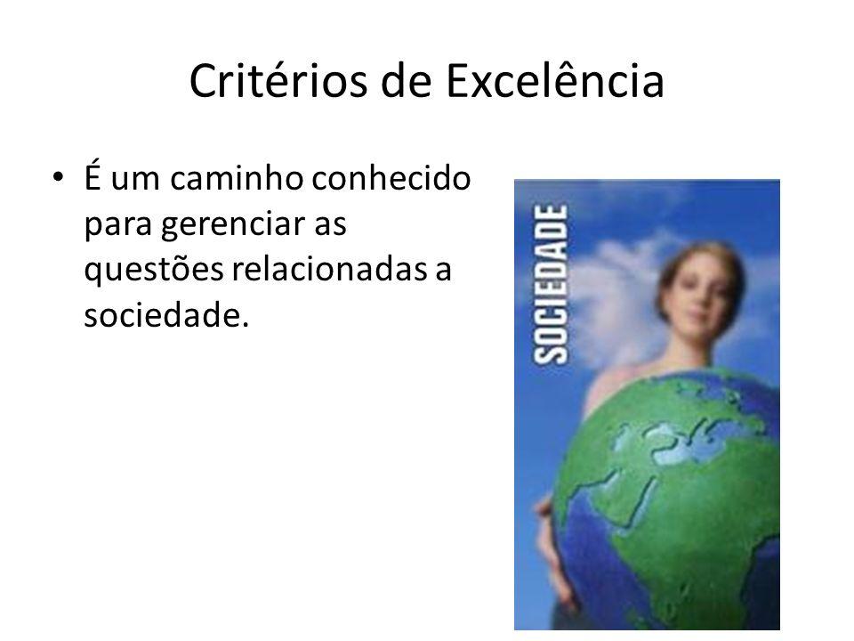 Critérios de Excelência É um caminho conhecido para gerenciar as questões relacionadas a sociedade.