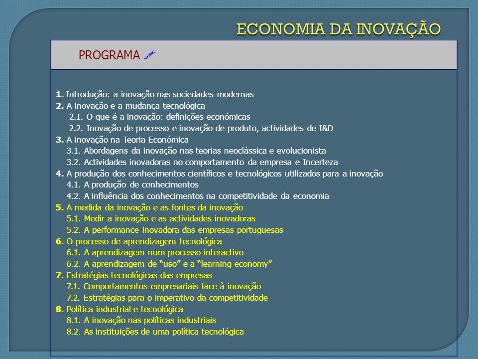PROGRAMA 1. Introdução: a inovação nas sociedades modernas 2.