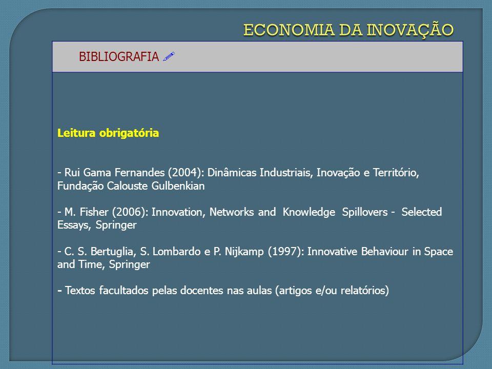 BIBLIOGRAFIA Leitura obrigatória - Rui Gama Fernandes (2004): Dinâmicas Industriais, Inovação e Território, Fundação Calouste Gulbenkian - M.