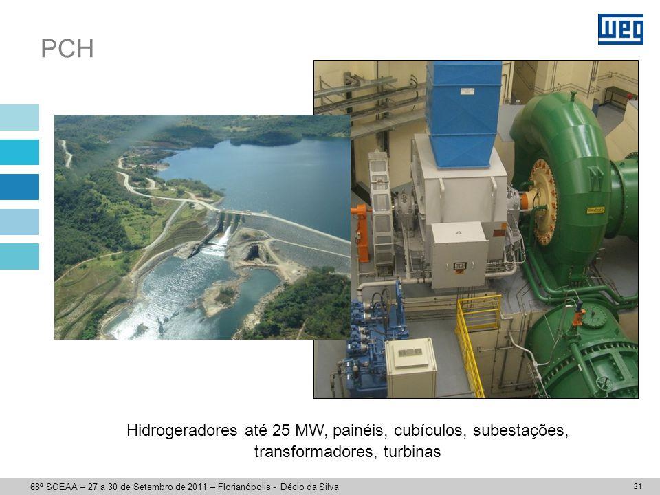 21 PCH Hidrogeradores até 25 MW, painéis, cubículos, subestações, transformadores, turbinas 68ª SOEAA – 27 a 30 de Setembro de 2011 – Florianópolis -