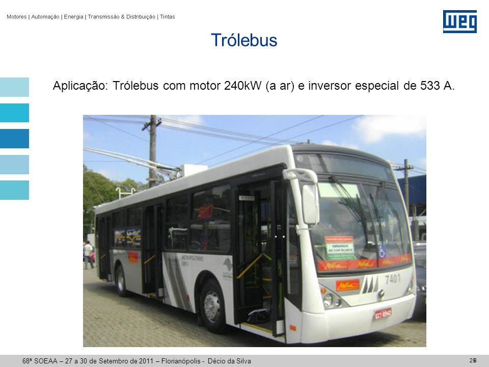 25 Aplicação: Trólebus com motor 240kW (a ar) e inversor especial de 533 A. Trólebus 8 68ª SOEAA – 27 a 30 de Setembro de 2011 – Florianópolis - Décio