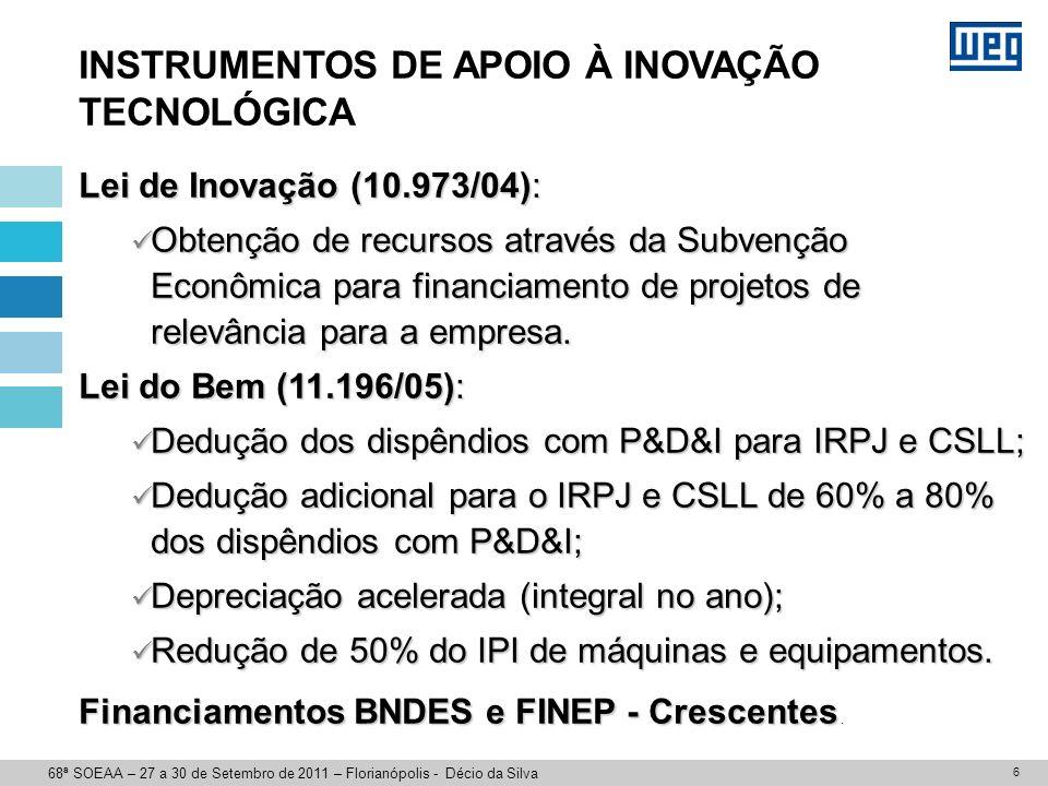 7 DESAFIOS À INOVAÇÃO TECNOLÓGICA Aumentar os investimentos empresariais Melhorar os investimentos governamentais Aumentar a interação entre Universidades, Institutos Pesquisa com Empresas Privadas 68ª SOEAA – 27 a 30 de Setembro de 2011 – Florianópolis - Décio da Silva