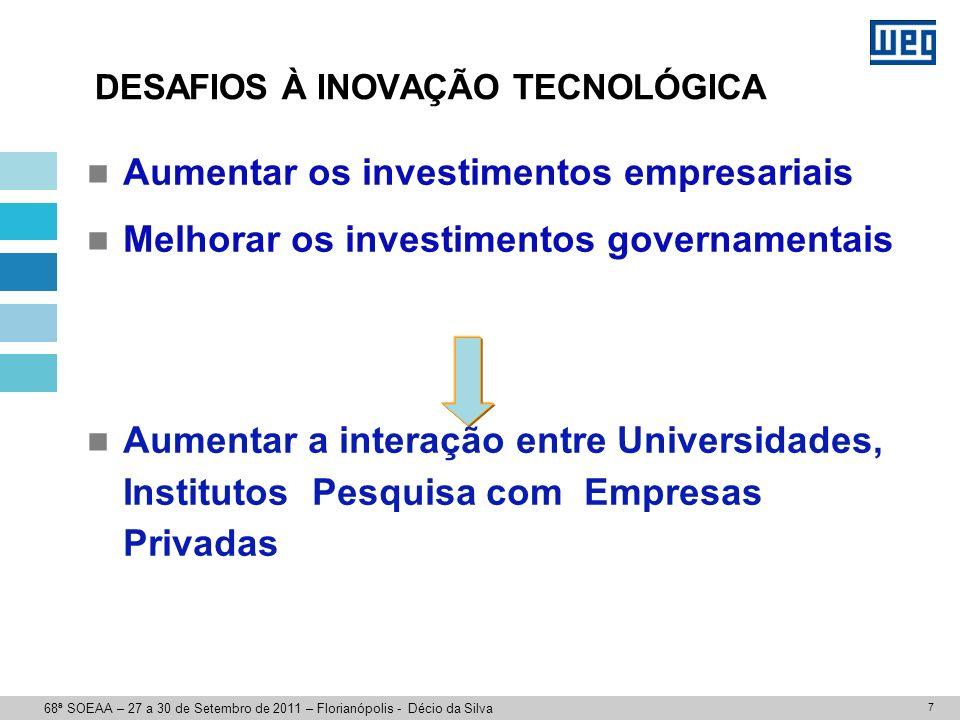 7 DESAFIOS À INOVAÇÃO TECNOLÓGICA Aumentar os investimentos empresariais Melhorar os investimentos governamentais Aumentar a interação entre Universid