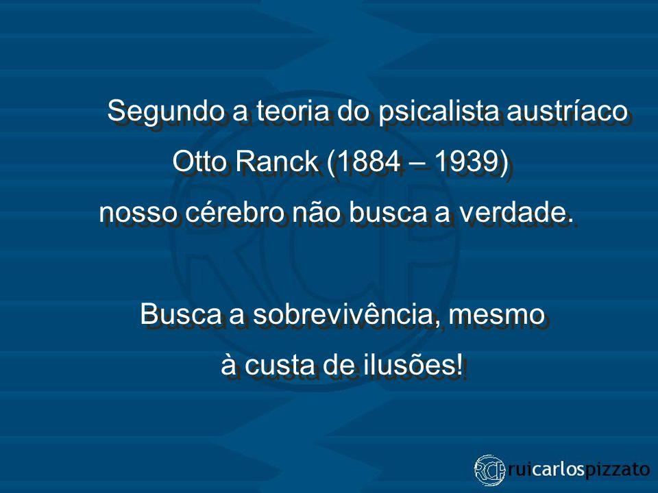 Segundo a teoria do psicalista austríaco Otto Ranck (1884 – 1939) nosso cérebro não busca a verdade. Busca a sobrevivência, mesmo à custa de ilusões!