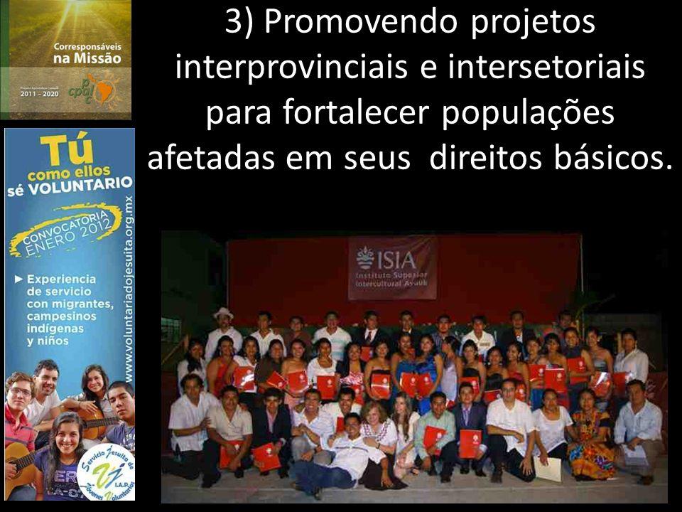 3) Promovendo projetos interprovinciais e intersetoriais para fortalecer populações afetadas em seus direitos básicos.