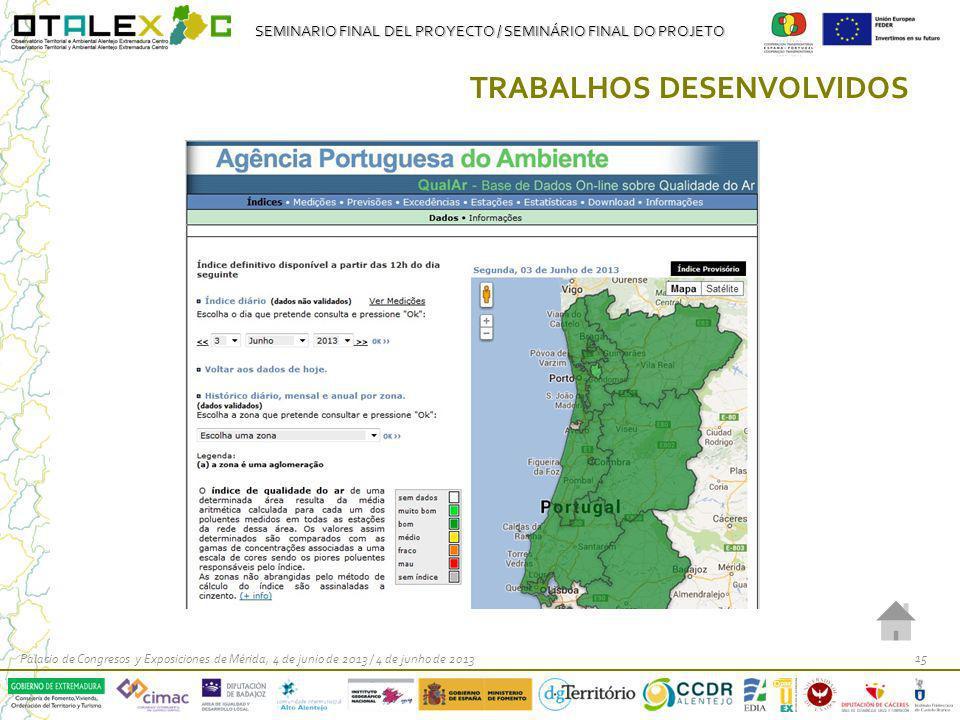 SEMINARIO FINAL DEL PROYECTO / SEMINÁRIO FINAL DO PROJETO Palacio de Congresos y Exposiciones de Mérida, 4 de junio de 2013 / 4 de junho de 2013 15 TR