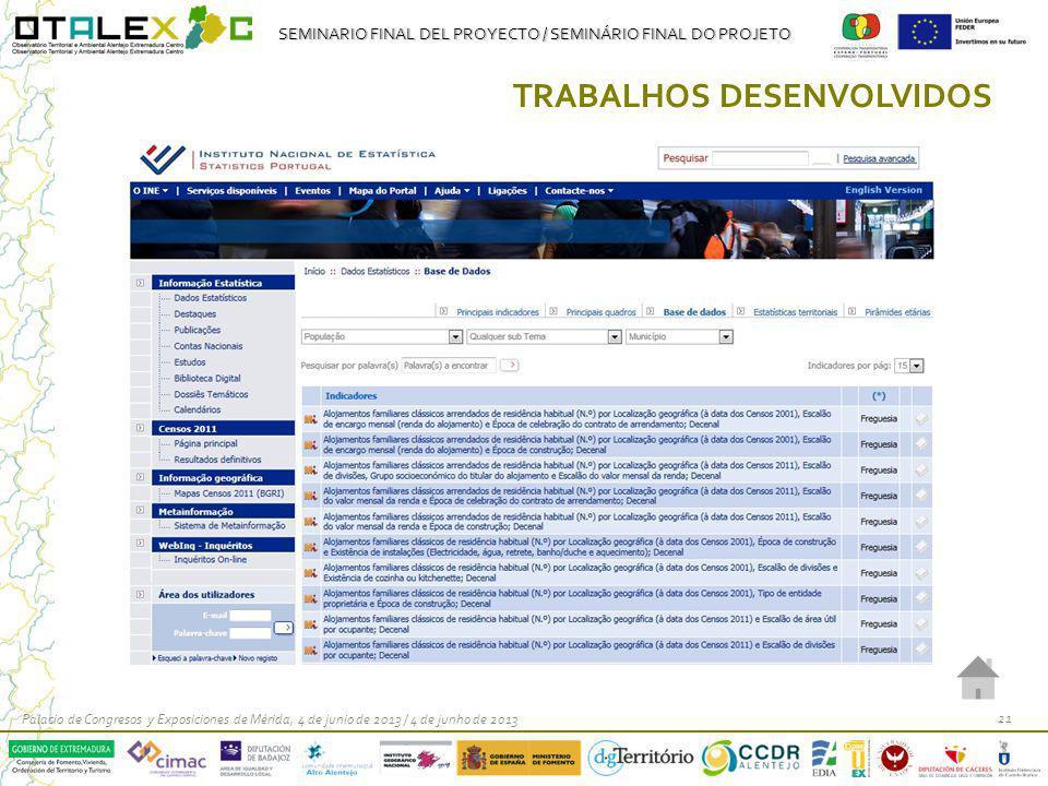 SEMINARIO FINAL DEL PROYECTO / SEMINÁRIO FINAL DO PROJETO Palacio de Congresos y Exposiciones de Mérida, 4 de junio de 2013 / 4 de junho de 2013 21 TR