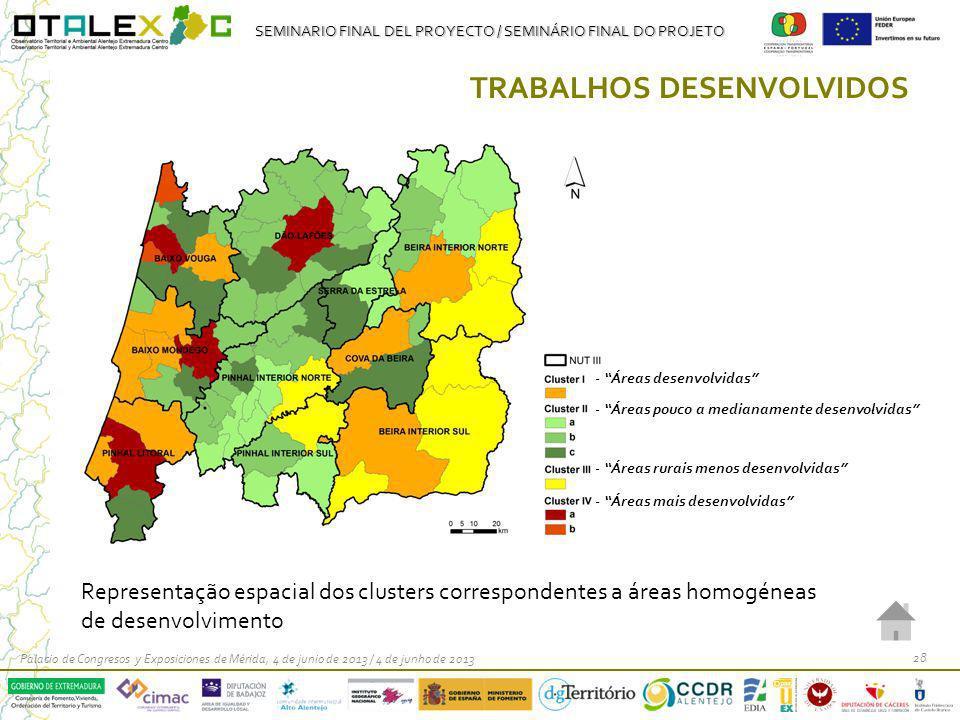 SEMINARIO FINAL DEL PROYECTO / SEMINÁRIO FINAL DO PROJETO Palacio de Congresos y Exposiciones de Mérida, 4 de junio de 2013 / 4 de junho de 2013 28 TRABALHOS DESENVOLVIDOS Representação espacial dos clusters correspondentes a áreas homogéneas de desenvolvimento - Áreas desenvolvidas - Áreas pouco a medianamente desenvolvidas - Áreas rurais menos desenvolvidas - Áreas mais desenvolvidas