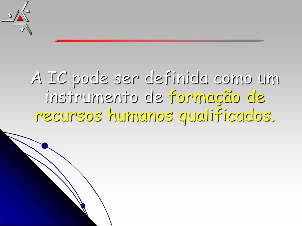 A IC pode ser definida como um instrumento de formação de recursos humanos qualificados.