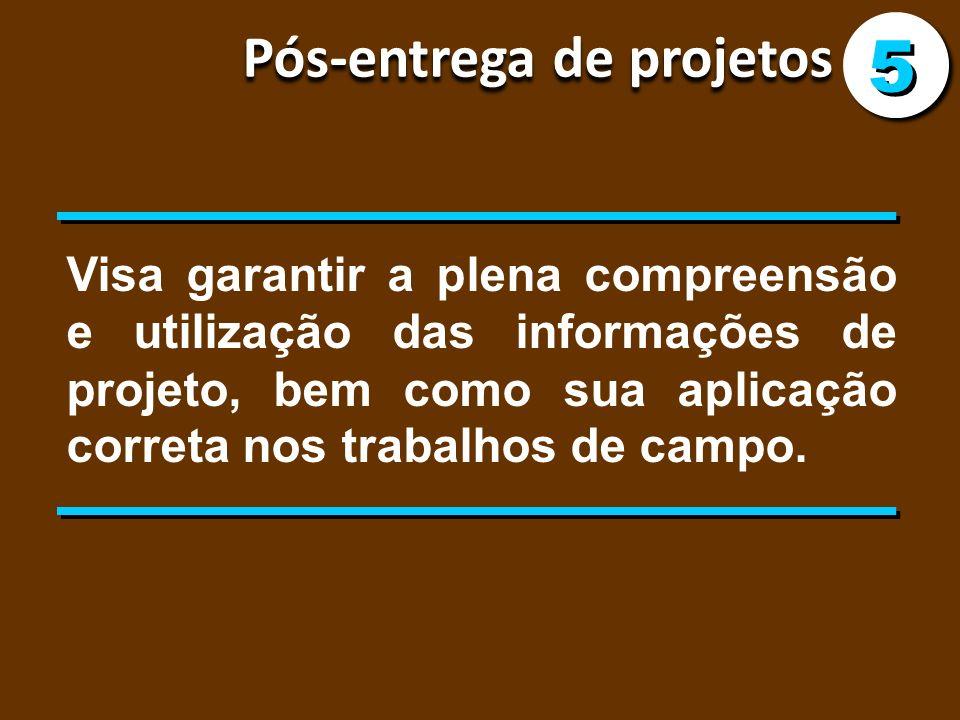 Pós-entrega de projetos 5 5 Visa garantir a plena compreensão e utilização das informações de projeto, bem como sua aplicação correta nos trabalhos de