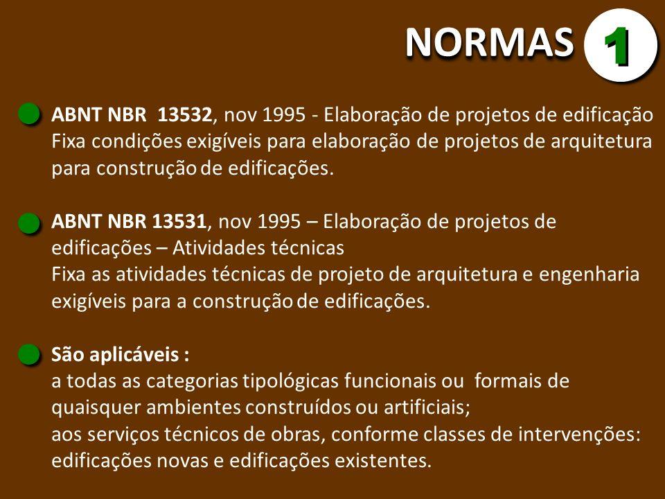 NORMASNORMAS 1 1 ABNT NBR 13532, nov 1995 - Elaboração de projetos de edificação Fixa condições exigíveis para elaboração de projetos de arquitetura p