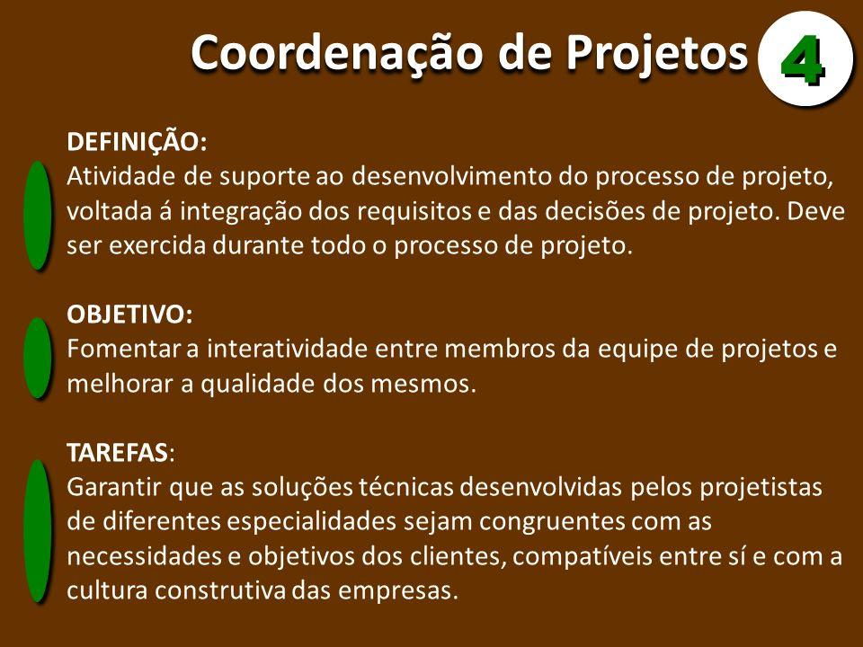 Coordenação de Projetos DEFINIÇÃO: Atividade de suporte ao desenvolvimento do processo de projeto, voltada á integração dos requisitos e das decisões