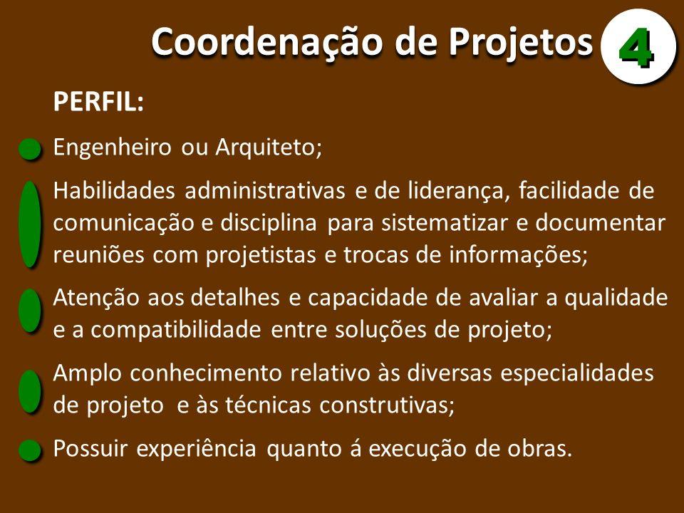 Coordenação de Projetos 4 4 PERFIL: Engenheiro ou Arquiteto; Habilidades administrativas e de liderança, facilidade de comunicação e disciplina para s