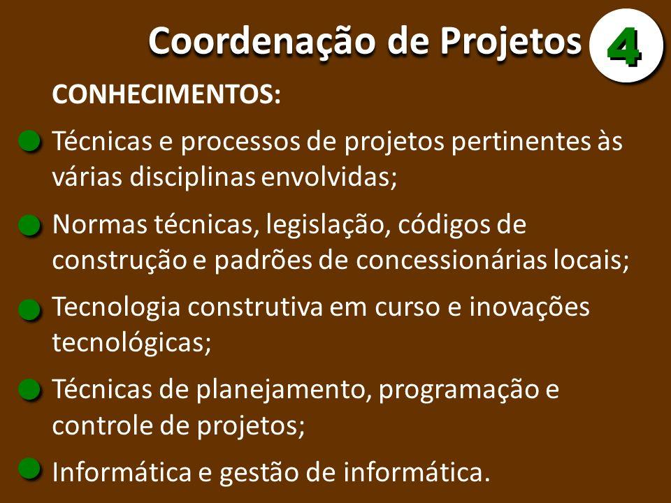 Coordenação de Projetos 4 4 CONHECIMENTOS: Técnicas e processos de projetos pertinentes às várias disciplinas envolvidas; Normas técnicas, legislação,