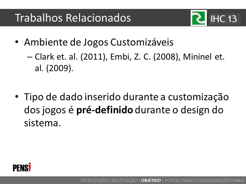 Trabalhos Relacionados Ambiente de Jogos Customizáveis – Clark et. al. (2011), Embi, Z. C. (2008), Mininel et. al. (2009). Tipo de dado inserido duran