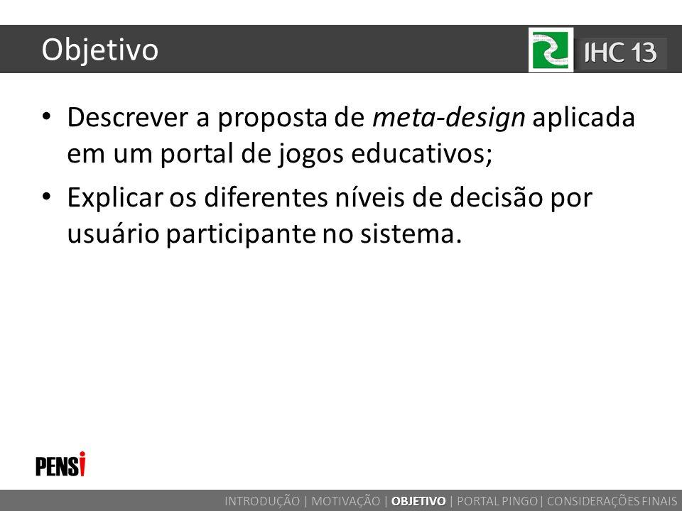 Objetivo Descrever a proposta de meta-design aplicada em um portal de jogos educativos; Explicar os diferentes níveis de decisão por usuário participa