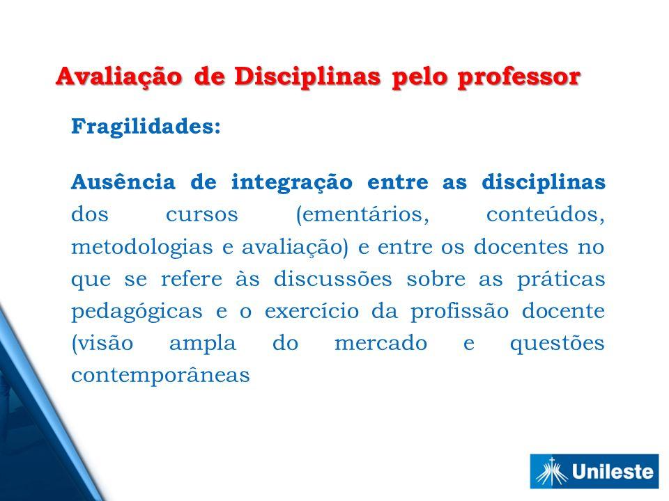 Fragilidades: Ausência de integração entre as disciplinas dos cursos (ementários, conteúdos, metodologias e avaliação) e entre os docentes no que se r