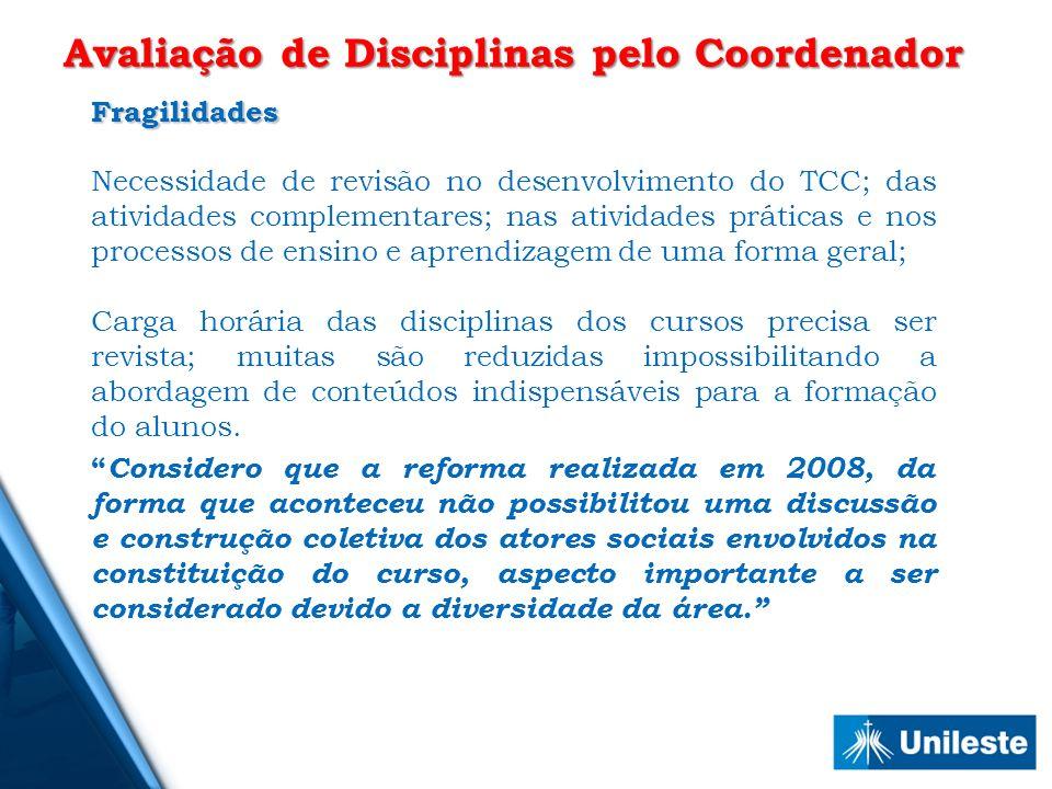 Fragilidades Necessidade de revisão no desenvolvimento do TCC; das atividades complementares; nas atividades práticas e nos processos de ensino e apre