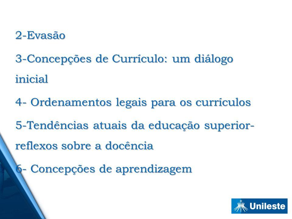 2-Evasão 3-Concepções de Currículo: um diálogo inicial 4- Ordenamentos legais para os currículos 5-Tendências atuais da educação superior- reflexos so