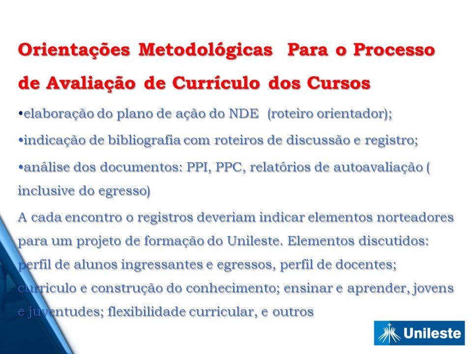 Orientações Metodológicas Para o Processo de Avaliação de Currículo dos Cursos elaboração do plano de ação do NDE (roteiro orientador);elaboração do p
