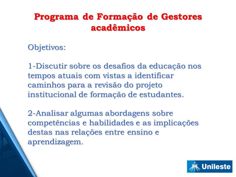 Programa de Formação de Gestores acadêmicos Objetivos: 1-Discutir sobre os desafios da educação nos tempos atuais com vistas a identificar caminhos pa