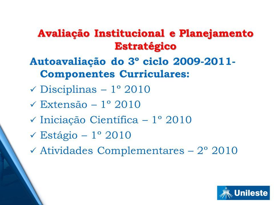 Avaliação Institucional e Planejamento Estratégico Autoavaliação do 3º ciclo 2009-2011- Componentes Curriculares: Disciplinas – 1º 2010 Extensão – 1º