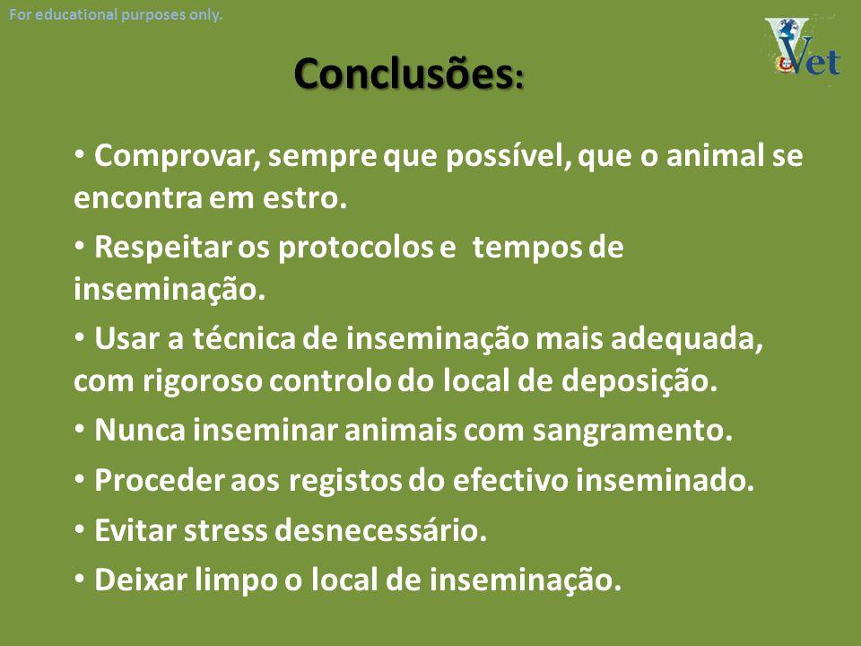 For educational purposes only. Conclusões : Comprovar, sempre que possível, que o animal se encontra em estro. Respeitar os protocolos e tempos de ins