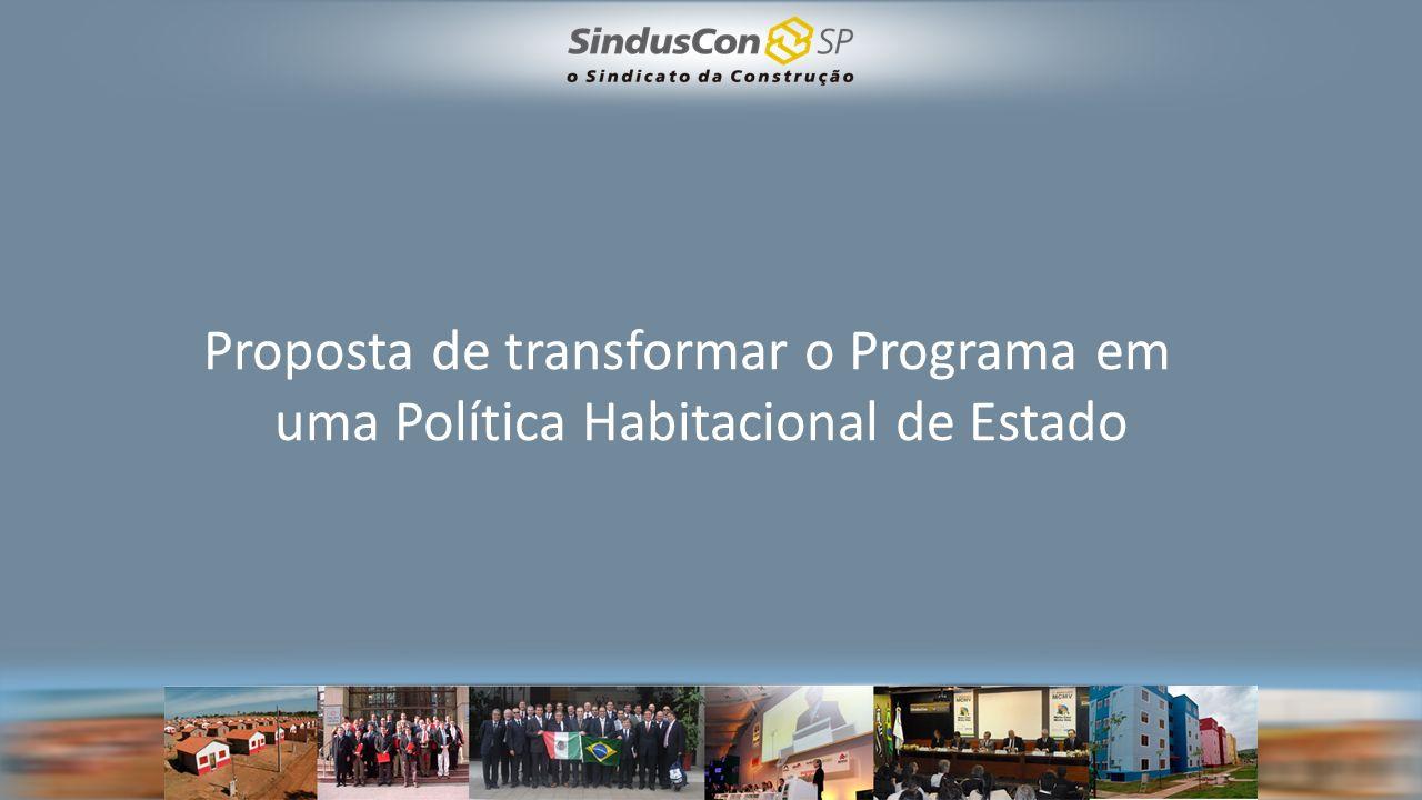 Proposta de transformar o Programa em uma Política Habitacional de Estado