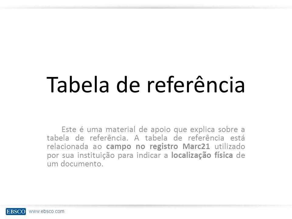 www.ebsco.com Tabela de referência Este é uma material de apoio que explica sobre a tabela de referência.