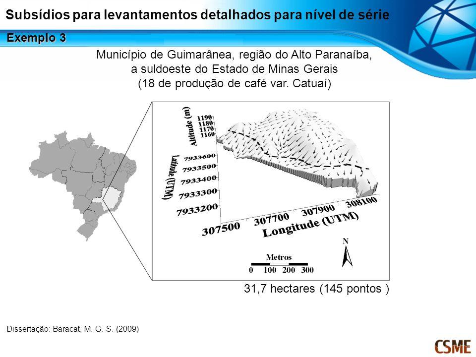 Município de Guimarânea, região do Alto Paranaíba, a suldoeste do Estado de Minas Gerais (18 de produção de café var. Catuaí) 31,7 hectares (145 ponto