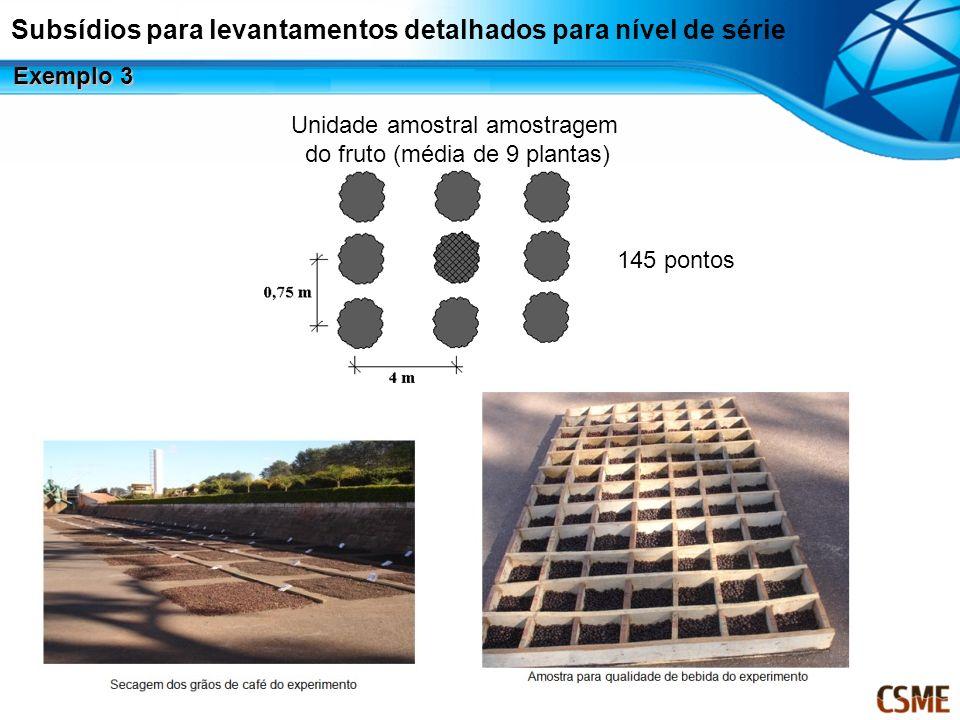 Unidade amostral amostragem do fruto (média de 9 plantas) 145 pontos Subsídios para levantamentos detalhados para nível de série Exemplo 3