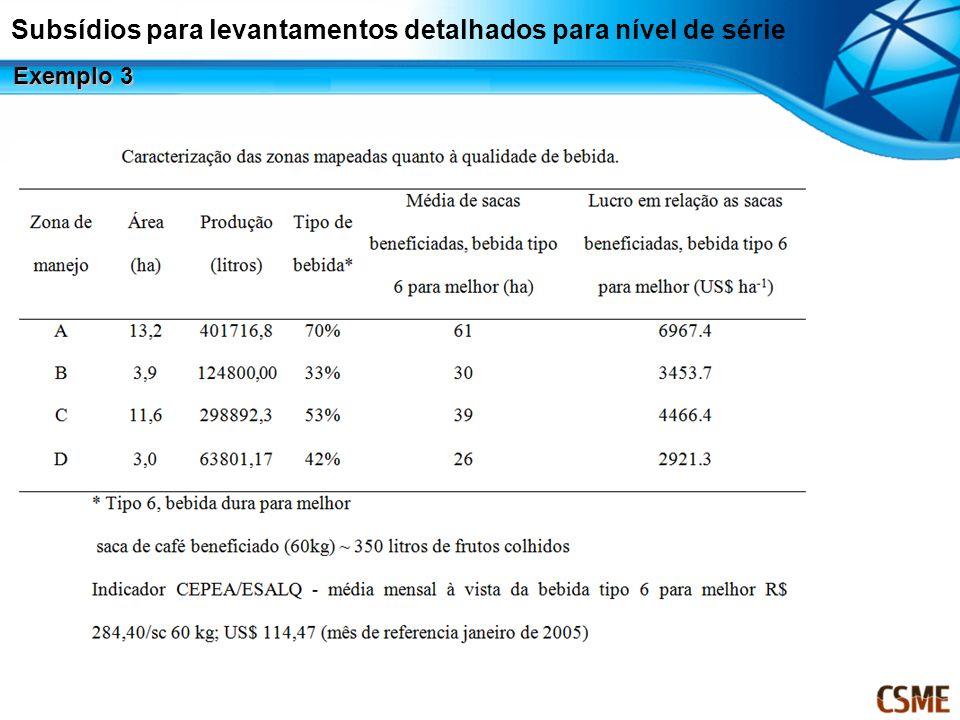 Subsídios para levantamentos detalhados para nível de série Exemplo 3